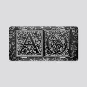 AO initials. Vintage, Flora Aluminum License Plate