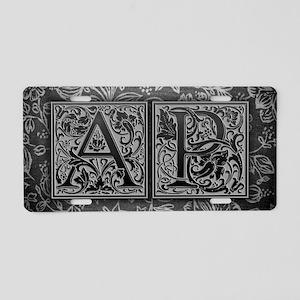 AP initials. Vintage, Flora Aluminum License Plate