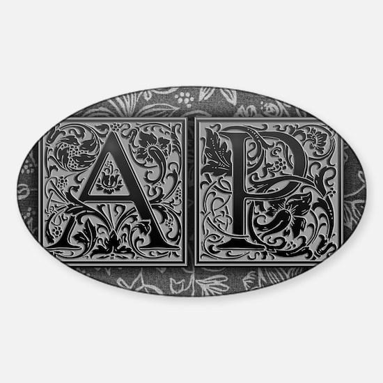 AP initials. Vintage, Floral Sticker (Oval)