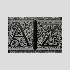 AZ initials. Vintage, Floral Rectangle Magnet