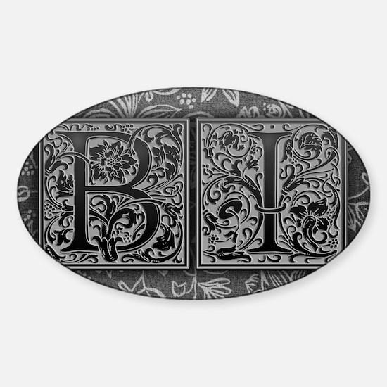 BI initials. Vintage, Floral Sticker (Oval)