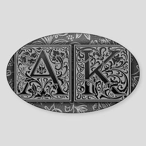 AK initials. Vintage, Floral Sticker (Oval)