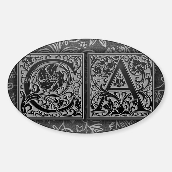 CA initials. Vintage, Floral Sticker (Oval)