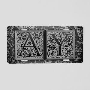 AY initials. Vintage, Flora Aluminum License Plate