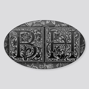 BH initials. Vintage, Floral Sticker (Oval)