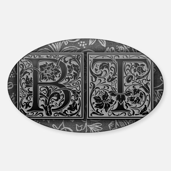 BT initials. Vintage, Floral Sticker (Oval)