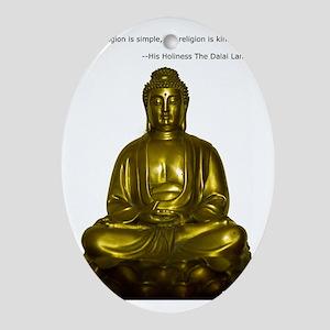 Buddha with Dalai Lama Quote Oval Ornament