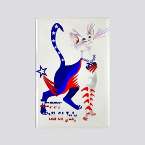 4th Of July American Kitty Shirt Rectangle Magnet