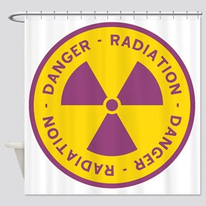 Radiation Warning Symbol Shower Curtain
