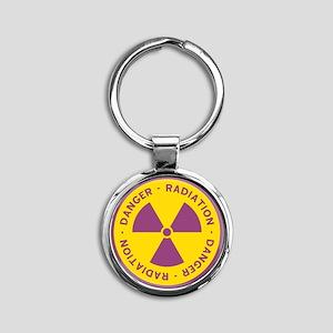 Radiation Warning Symbol Round Keychain