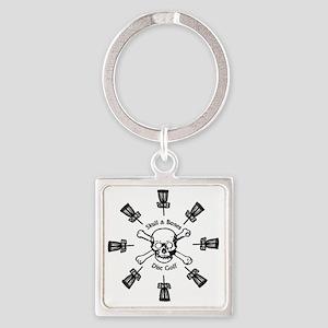 Skull and Bones Disc Golf Sun of B Square Keychain