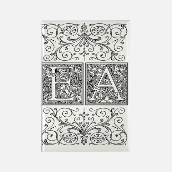 EA, initials, Rectangle Magnet