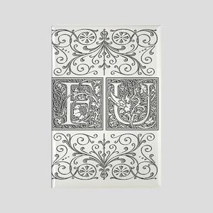 FU, initials, Rectangle Magnet