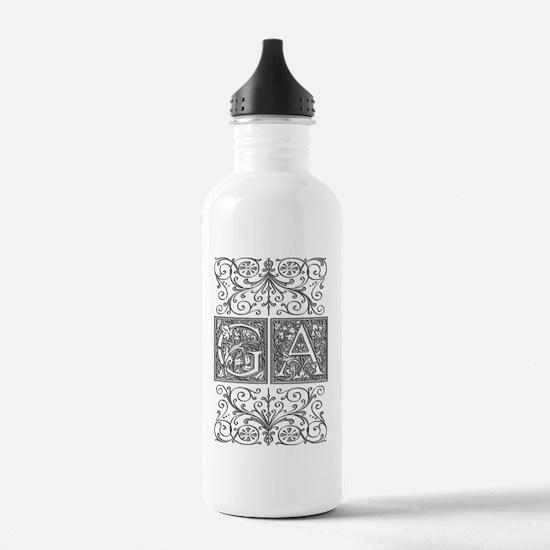GA, initials, Water Bottle