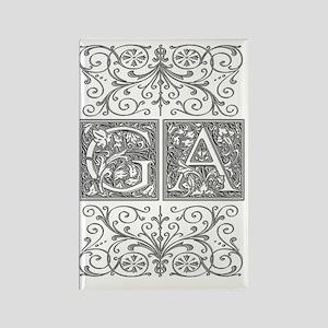 GA, initials, Rectangle Magnet