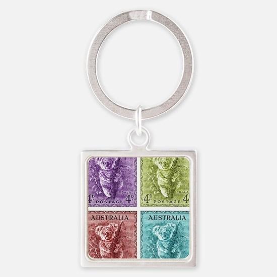 1938 Australian Koala Stamp Square Keychain