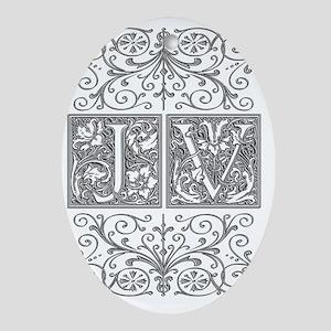 JV, initials, Oval Ornament