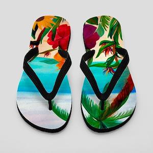 Tropical Floral Beach Flip Flops