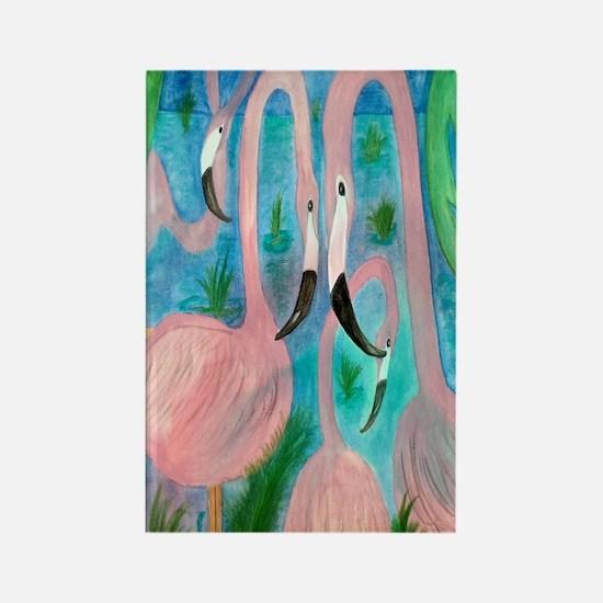 Flamingo party Rectangle Magnet