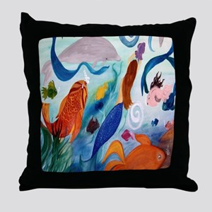 Tropical Fish and Mermaid Party Throw Pillow