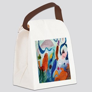 Tropical Fish and Mermaid Party Canvas Lunch Bag