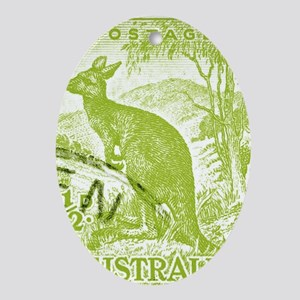 1937 Australian Kangaroo Stamp Green Oval Ornament