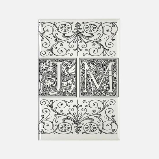 JM, initials, Rectangle Magnet