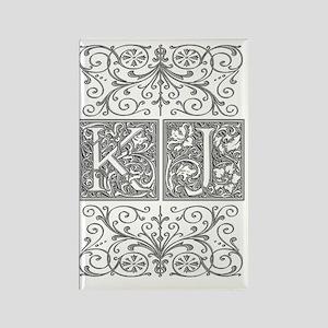KJ, initials, Rectangle Magnet