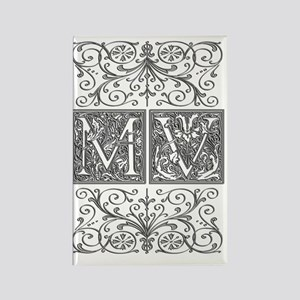 MV, initials, Rectangle Magnet