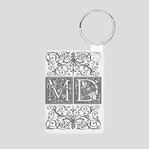 MD, initials, Aluminum Photo Keychain