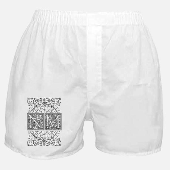 NM, initials, Boxer Shorts
