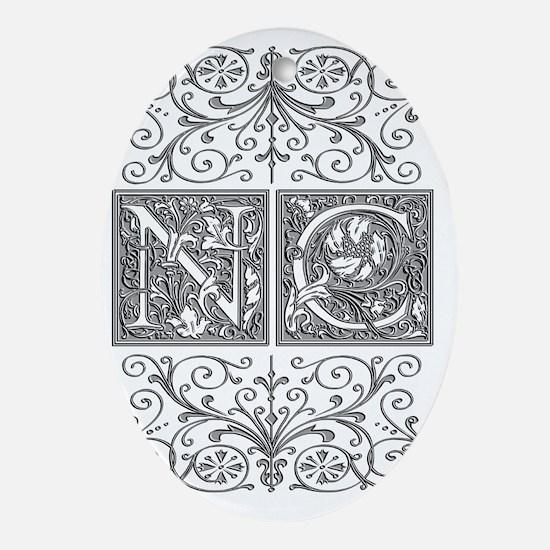 NC, initials, Oval Ornament