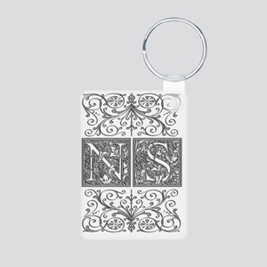 NS, initials, Aluminum Photo Keychain