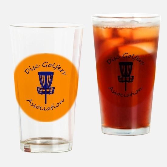Orange Disc golf Disc Drinking Glass