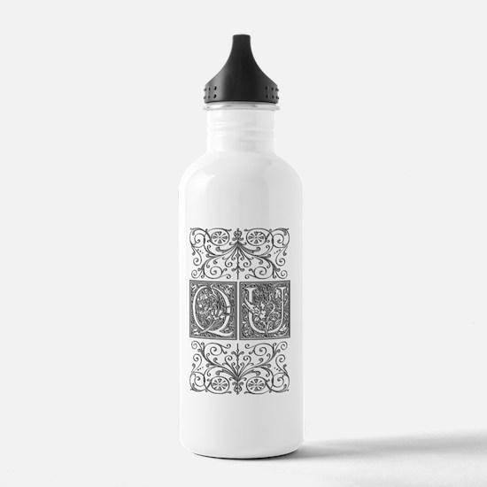 QU, initials, Water Bottle