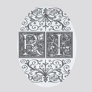 RI, initials, Oval Ornament