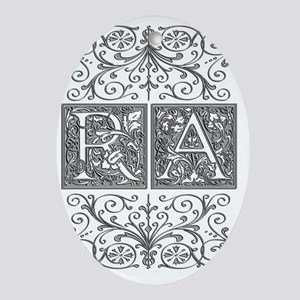 RA, initials, Oval Ornament