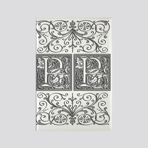 PP, initials, Rectangle Magnet
