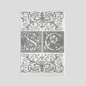 SC, initials, Rectangle Magnet