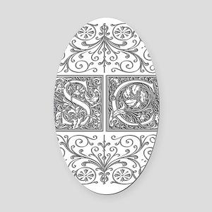 SC, initials, Oval Car Magnet