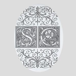 SC, initials, Oval Ornament