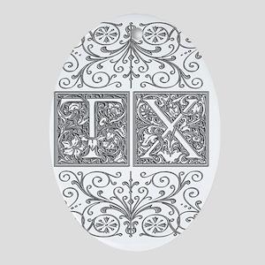 TX, initials, Oval Ornament