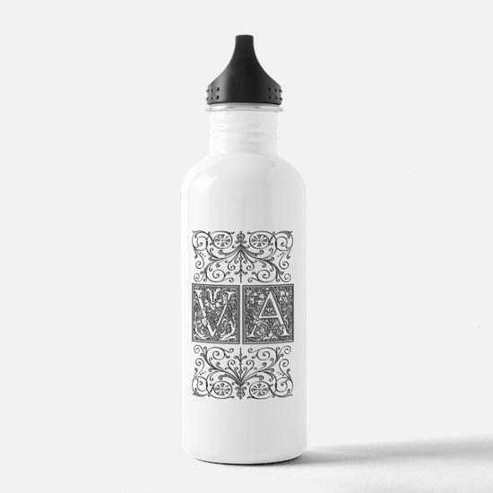 VA, initials, Water Bottle