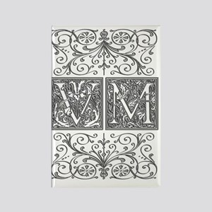 VM, initials, Rectangle Magnet