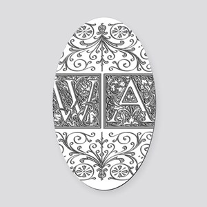 WA, initials, Oval Car Magnet