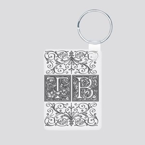 TB, initials, Aluminum Photo Keychain