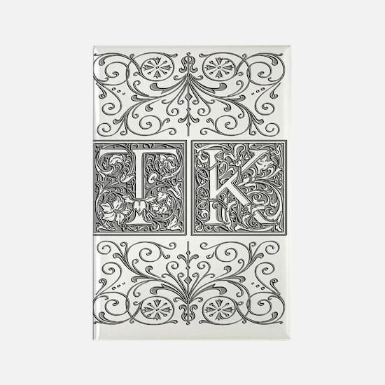 TK, initials, Rectangle Magnet