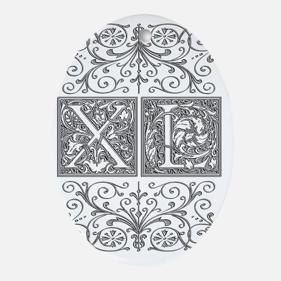 XL, initials, Oval Ornament