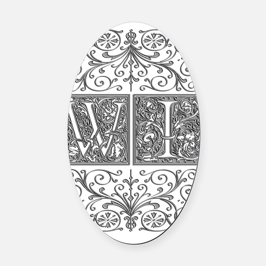 WI, initials, Oval Car Magnet