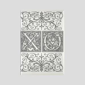 XO, initials, Rectangle Magnet